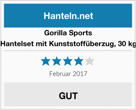 Gorilla Sports Hantelset mit Kunststoffüberzug, 30 kg Test