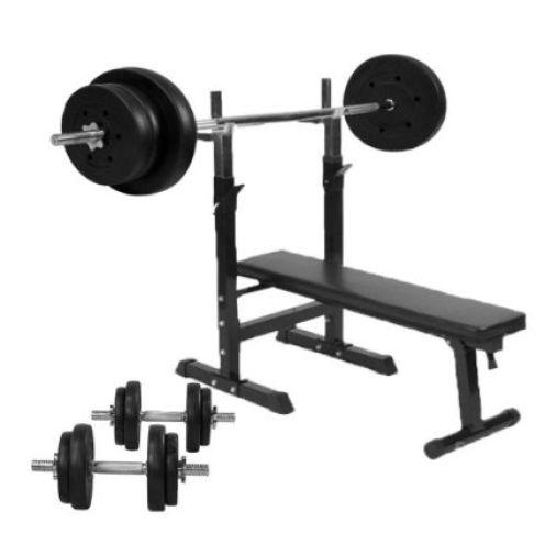 Gorilla Sports Hantelbank mit Hantelset 70 kg